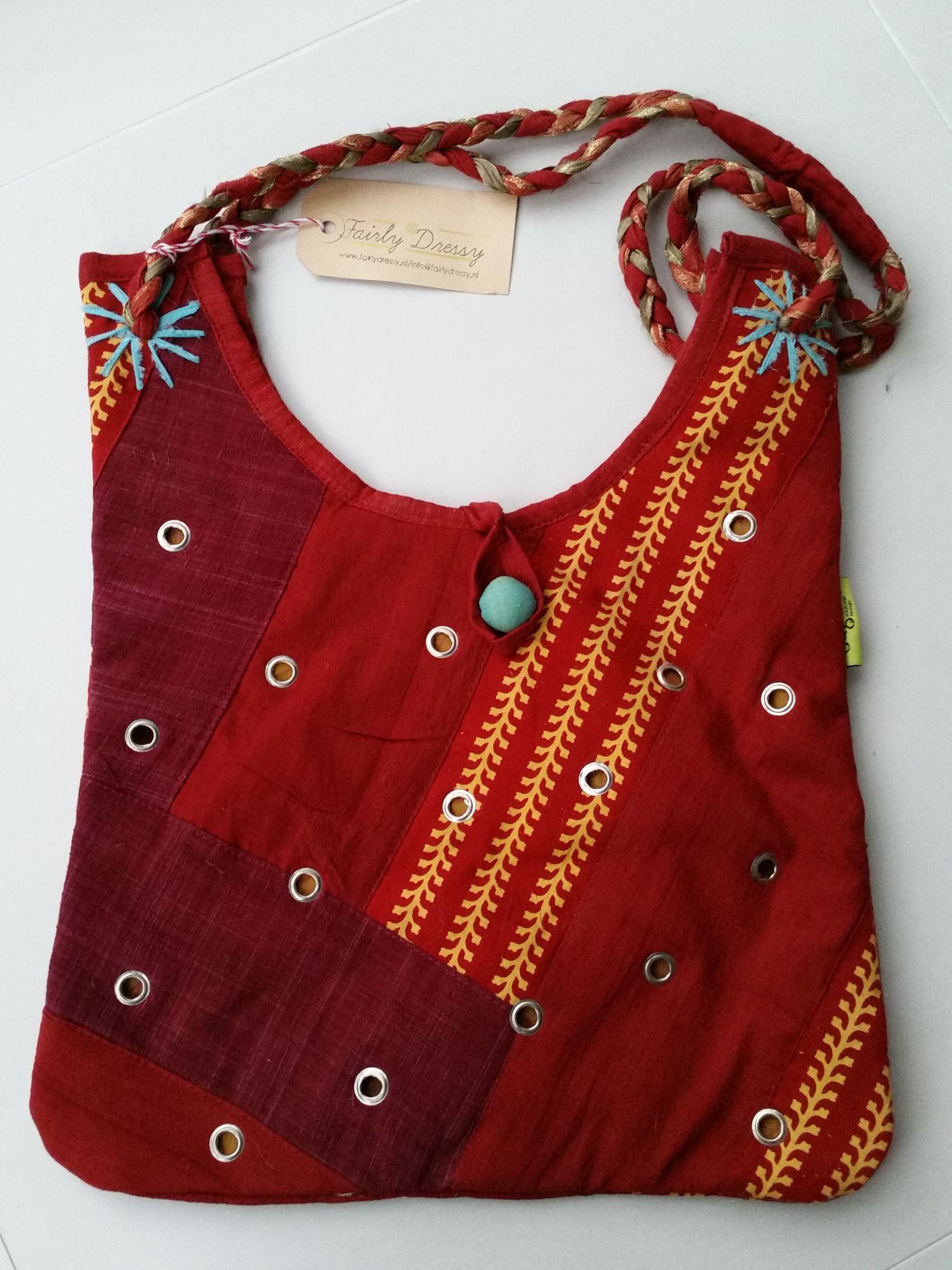 Zelfgemaakte Stoffen Tassen : Fairtrade rode stoffen tas fairlydressy